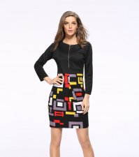 Colorful Print Long Sleeve Office Dress