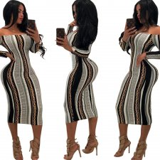 African Print Long Sleeve Off Shoulder Bodycon Dress