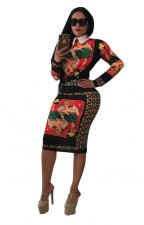 African Print Long Sleeve Bodycon Dress