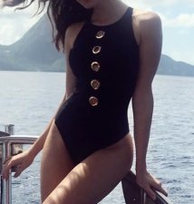 Black One-Piece Cut-Out Swimwear
