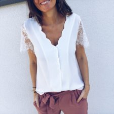 V-Neck Solid Blouse with Lace Sleeves