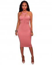 Plain Color Sexy Scoop Club Dress