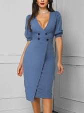 Blue V-Neck Wrapped Office Dress