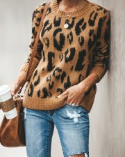 Print Leopard O-Neck Pullover Sweater