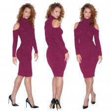 Cut Out Shoulder Long Sleeve Bodycon Dress