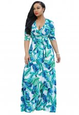 Print 3/4 Sleeves Wrapped Maxi Dress