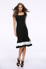 White and Black Sleeveless Mermaid Party Dress