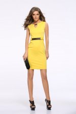 Sleeveless Office Dress with Belt