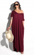 V-Neck Short Sleeve Loose-fitting Long Dress
