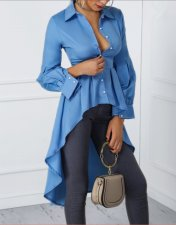 Blue High-Low Long Sleeve Blouse