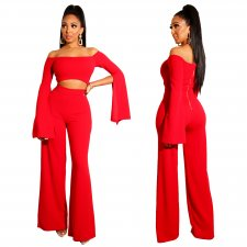 Off Shoulder Sexy and Chic Plain Jumpsuit with Open Sleeves