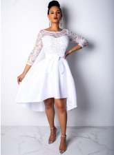 Lace Upper Cocktail Dress with 3/4 Sleeves