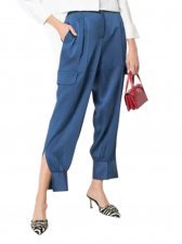 Casual Blue Western Trousers with Split Hem
