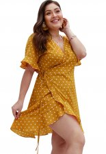 Plus Size Print Casual Wrap Dress with Ruffle Sleeves