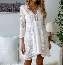 White Lace Short Boho Dress