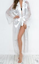 Lace Detailed White Silk Long Pajama