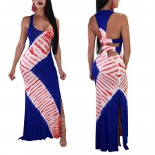 Print Halter Long Dress with Open Side