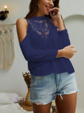Lace Upper Long Sleeve Blouse with Cut Out Shoulder