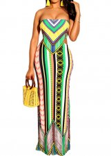Print Retro Strapless Long Dress