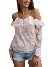 Pink Lace Straps Blouse with Sleeves