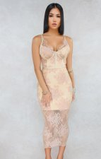Pink Lace Straps Long Party Dress