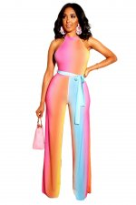 Multi-Color Scoop Jumpsuit with Belt