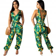 Print Green V-Back Mouwloze Jumpsuit