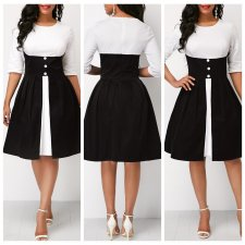 White and Black Vintage Dress with Half Sleeves