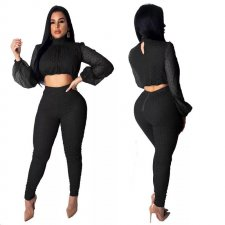 Polka Chic Crop Top and Pants Set