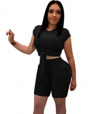 Short Sleeve Tied Crop Top and Shorts