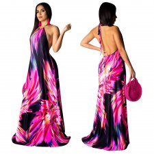 Sexy Backless Halter Print Maxi Dress