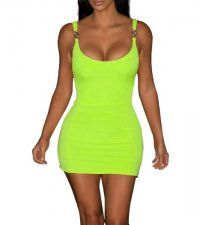 Solid Color Straps Vest Dress