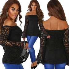 Black Off Shoulder Lace Top with Wide Cuffs