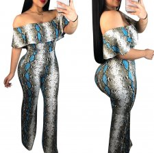 Snake Skin Off Shoulder Jumpsuit
