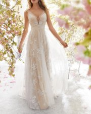 V-Neck Sleeveless Lace Nude Wedding Dress