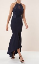 Lace Detailed Halter Mermaid Evening Dress