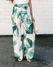 White and Green Print Wide Pants