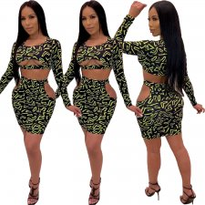 Print Two-Piece Cut Out Dress