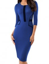 O-Neck Vintage Pencil Dress with 3/4 Sleeves