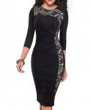 Lace Detailed Midi Dress with 3/4 Sleeves