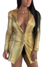 Snake Skin Long Sleeve Gold Blazer