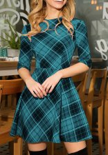 Half Sleeves Plaid Skater Dress