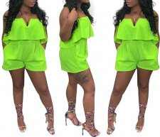 Green Strapless Playsuit