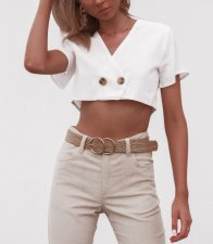 Short Sleeves Wrapped Crop Top