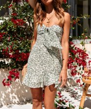 White and Green Print Strapless Ruffle Dress