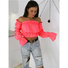 Strapless Ruffles Crop Top with Sleeves