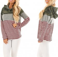 Long Sleeves Stripped Hoody Top