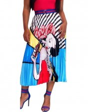 Print Hippied Pleated Maxi Skirt