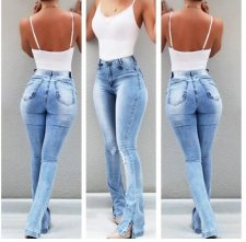 Blue Washing Out High Waist Jeans