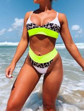 Two-Piece Contrast High Waist Swimwear